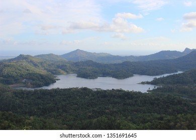 waduk sermo scenery view from kalibiru, kulon progo, indonesia