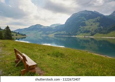 Waegitalersee, Lake in Switzerland, Sunset and Waterfall