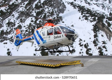 Waeth/Austria January  3, 2015: Flugrettung Helicopter at Warth Airport.