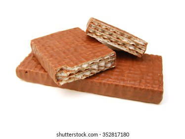 wafers in chocolate isolated on a white background