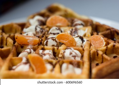 Wafers with ice cream. Breakfast