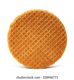 Waffle with caramel isolated on white background with shadow