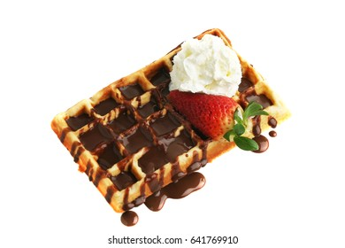 Waffle with chocolate, strawberry and cream