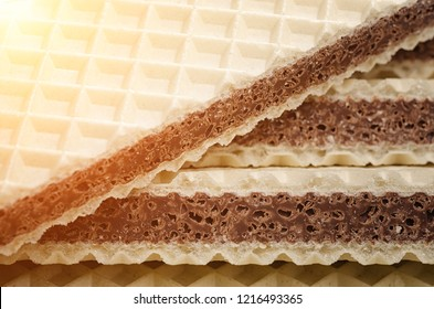 Waffle closeup.Waffer background