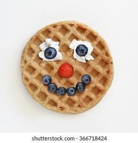 Waffle food face