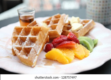Waffle with fruits