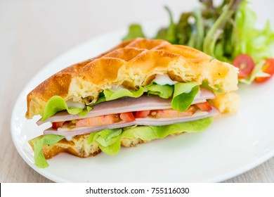 waffle ham cheese sandwich with vegetables