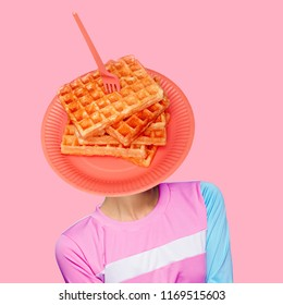 Waffle head.Contemporary art  collage. Funny Fast food minimal project