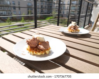 waffle with ice cream on the balcony in isolation