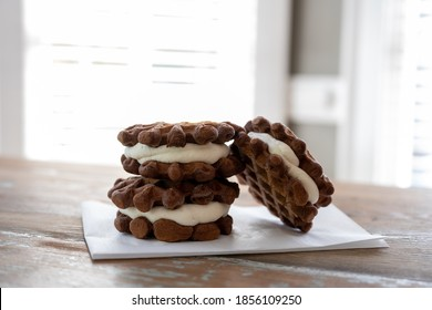 Waffle Ice Cream Sandwiches With Bright Background on kitchen table
