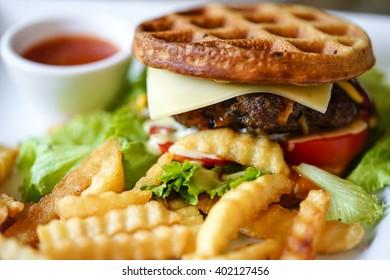 Waffle meat burger
