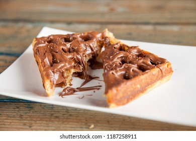 Waffle pancake chocolate snack cut in to half