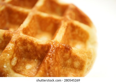 Waffle, Selective Focus, Isolated on White Background, Closed Up