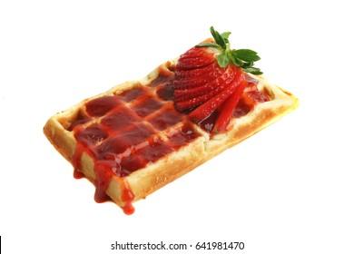 Waffle with strawberry marmalade