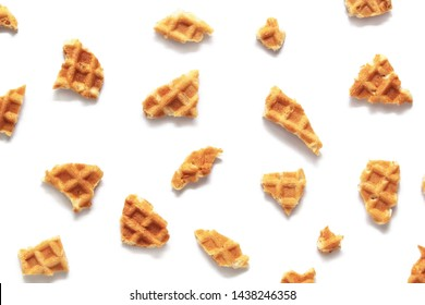 Waffle texture. Wafer cone pieces isolated on white background.