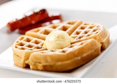 Waffle w/ sausage