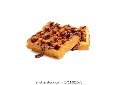 waffles in chocolate syrup on a white background