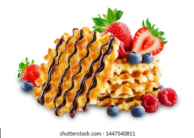 Waffles with fresh berries on a white background. toning. selective focus