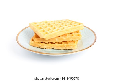 Waffles on plate isolated on white background