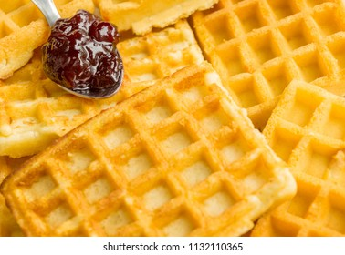 Waffles with red Jam