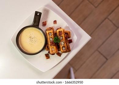 waffles stick with carbonara sauce