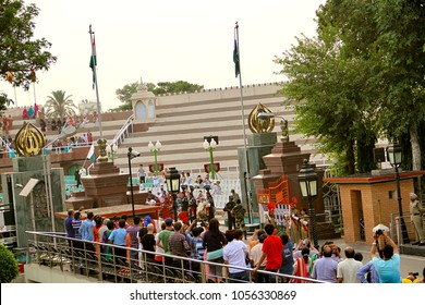 Wagah Border (Atari), India - 7th june 2014: The evening flag lowering ceremony at the India–Pakistan near Wagah