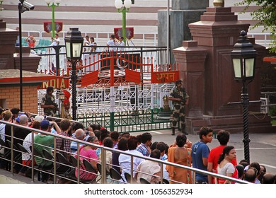 Wagah Border (Atari), India - 7th June 2014: People waiting  for the parade to start at wagah border