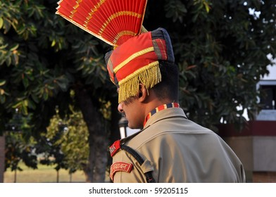 WAGAH BORDER, INDIA - 25 OCTOBER: Member of indian Border security force guards during the ceremonial on indo-pakistan border on October 25, 2009 in Wagah border. The ceremonial is held every day.