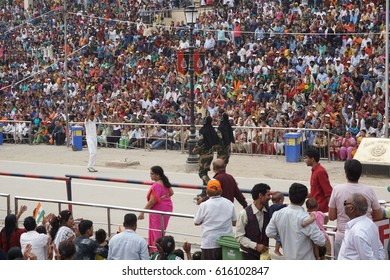 Wagah India – March 21 2017 - The lowering of the flags ceremony at Wagah border, Indian side