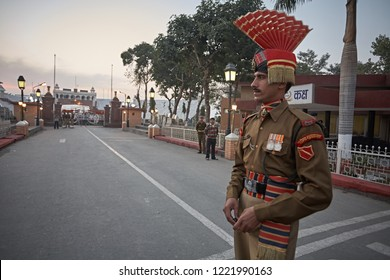 Wagah, Punjab, India, August 2012.  Atari Wagah's daily flag lowering ceremony at the Pakistani border by the Border Security Force (BSF).