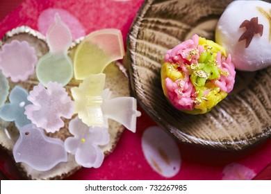 Wagashi, traditional Japanese confections from Kanazawa city, Ishikawa prefecture
