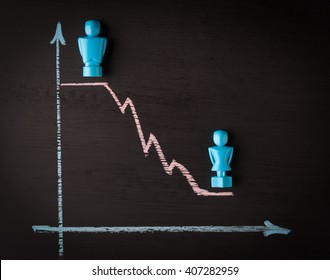 Wage gap and gender equality concept depicted with male and female figurines and hand drawn chalkboard line graph