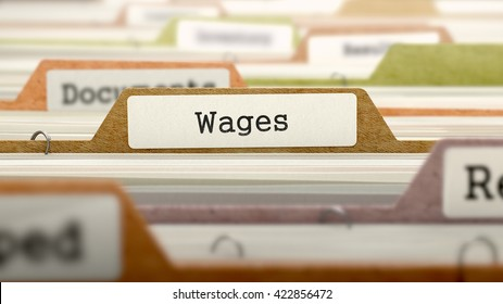 Wages Concept on Folder Register in Multicolor Card Index. Closeup View. Selective Focus. 3D Render.