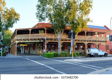WAGGA WAGGA, AUSTRALIA – March 20, 2018:  View of the facade and its wraparound lacework balcony and verandah of the late 19th century Union Club Hotel in the city of Wagga Wagga