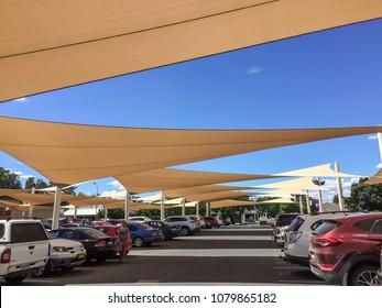 Wagga Wagga, NSW/Australia-March 3rd 2017: Public car park with sun shade sails.