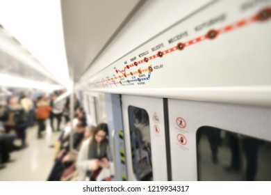 a waggon view with blury background from ankara metro train. and the ankara metro map  in 2018.