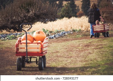 Wagon full of pumpkins with people in the background