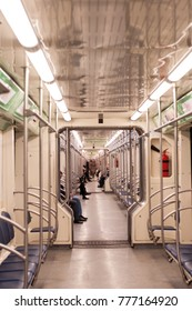 Wagon from inside the new Moscow subway train - Moscow - a train without partitions