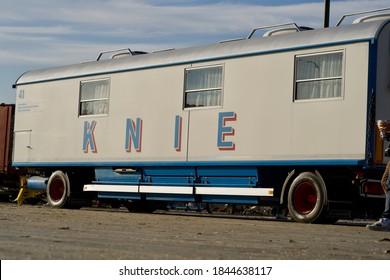 Wagon of the swiss national circus Knie. Photo taken October 31st, 2020, Zurich, Switzerland.