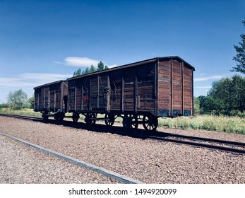 Wagon from train at Auschwitz, Poland, used to deport Jews during Holocaust.