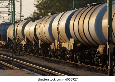 Wagons of a freight train transporting oil