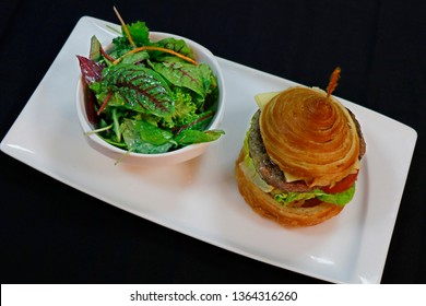 wagyu beef burger with croisant