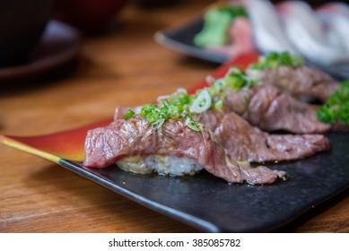 Wagyu beef sushi set , Japanese style food