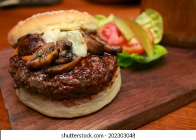 Wagyu Burger with Cheesy Mushroom