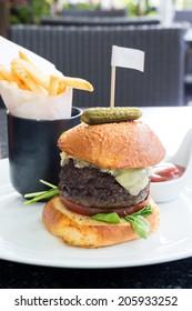 Wagyu Kobe Beef Steak burgers, Hamburgers with Sweet Potato Fries