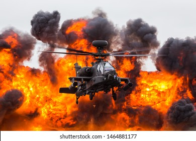 WAH-64D Apache from the Army Air Corps seen during a demonstration using pyrotechnics at the 2017 Royal International Air Tattoo at Royal Air Force Fairford in Gloucestershire.