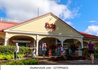 Wahiawa, Hawaii - Dec 25, 2018 : View of the Dole Pineapple Plantation in Wahiawa, Tour destination