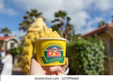 Wahiawa, Hawaii - Dec 25, 2018 : Pineapple Ice Cream at the Dole Pineapple Plantation in Wahiawa, Tour destination