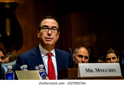 Wahington DC, USA, 18th, January, 2017 Steven Mnuchin testifies at the Senate Finance Committee during his confirmation hearing on his appointment by President Donald Trump as Treasury Secretary