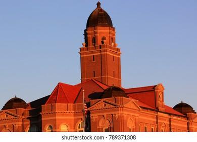 Wahoo Nebraska Courthouse in the morning warm sun rays